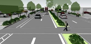 Mixed-Traffic Lane Confirguration (east of 21st on Main Street)